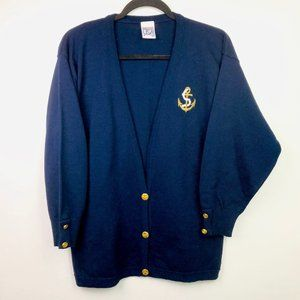 VTG Sweaters USA Cardigan M Blue Nautical Anchor